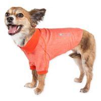 Pet Life Active Medium Fur-Flexed Solid Polo T-Shirt in Orange