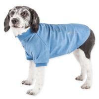 Pet Life Active Medium Fur-Flexed Solid Polo T-Shirt in Blue