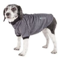 Pet Life Active Large Fur-Flexed Solid Polo T-Shirt in Grey