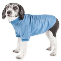 Pet Life Active Large Fur-Flexed Solid Polo T-Shirt in Blue