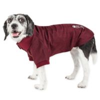 Pet Life Active Large Fur-Flexed Solid Polo T-Shirt in Burgundy