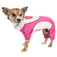 Pet Life Extra-Small Active Warm-Pup Dual-Toned Full Bodied Tracksuit in Pink