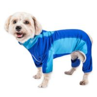 Pet Life Small Active Warm-Pup Dual-Toned Full Bodied Tracksuit in Blue