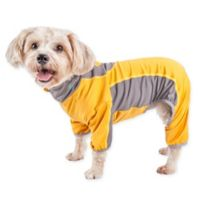 Pet Life Small Active Warm-Pup Dual-Toned Full Bodied Tracksuit in Orange