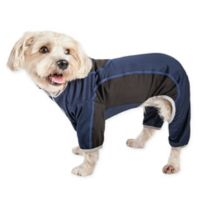 Pet Life Small Active Warm-Pup Dual-Toned Full Bodied Tracksuit in Navy