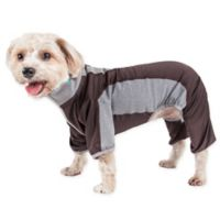 Pet Life Large Active Warm-Pup Dual-Toned Full Bodied Tracksuit in Brown