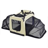 Small Hounda Accordion Metal Frame Collapsible and Expandable Dual Sided Pet Crate in Khaki