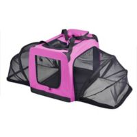 Small Hounda Accordion Metal Frame Collapsible and Expandable Dual Sided Pet Crate in Pink