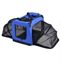 Small Hounda Accordion Metal Frame Collapsible and Expandable Dual Sided Pet Crate in Blue
