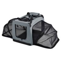 X-Large Hounda Accordion Metal Frame Collapsible and Expandable Dual Sided Pet Crate in Grey
