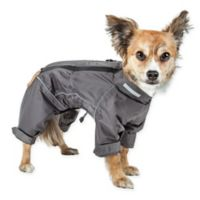 X-Small Dog Helios® Hurricane Waterproof and Reflective Full Body Dog Jacket in Grey