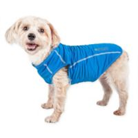 Small Active Racerbark 4-Way Stretch Performance Dog Tank Top in Blue