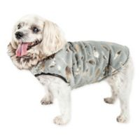 Large Luxe Gold Wagger Gold-Leaf Designer Fur Dog Coat in Grey