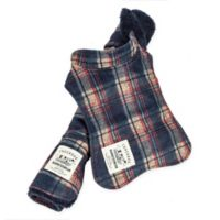 X-Small 2-In-1 Tartan Dog Jacket with Matching Reversible Mat in Navy