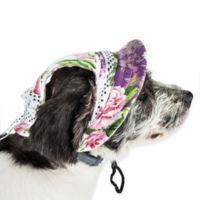Pet Life™ Botanic Bark Floral Canopy Medium Dog Hat in White