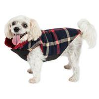 Pet Life® Medium Allegiance Plaid Insulated Dog Coat in Blue