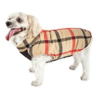 Pet Life® Large Allegiance Plaid Insulated Dog Coat in Khaki