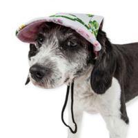 Pet Life™ Botanic Bark Floral Medium Dog Cap in White