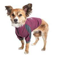 Medium Helios Eboneflow 4-Way Stretch Performance Yoga Dog T-Shirt in Purple
