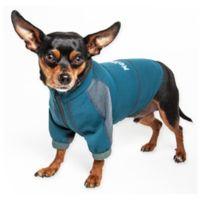 Large Helios Eboneflow 4-Way Stretch Performance Yoga Dog T-Shirt in Blue