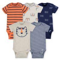 Gerber® Newborn 5-Pack Tiger Short Sleeve Bodysuits in Beige