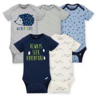 Gerber® Newborn 5-Pack Hedgehog Short Sleeve Bodysuits in Blue