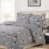 Tribeca Living Polar Bear King Duvet Cover Set in Pewter