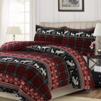 Tribeca Living Plaid Holiday Queen Duvet Cover Set in Black