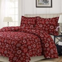 Tribeca Living Christmas Eve King Duvet Cover Set in Deep Red