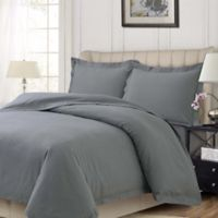 Tribeca Living Solid 200-Thread-Count Solid King Duvet Cover Set in Grey