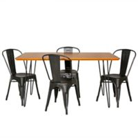 Forest Gate™ Mid-Century 5-Piece Dining Set in Black/Walnut