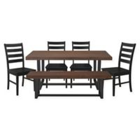 Forest Gate Rustic 6-Piece Dining Set in Mahogany/Black
