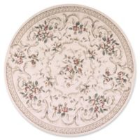 KAS Avalon Aubusson 7'10 Round Area Rug in Ivory