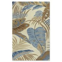 KAS Rainforest Palms 3'3 x 5'3 Area Rug in Ivory/Blue
