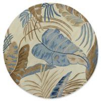 KAS Rainforest Palms 7'6 Round Rug in Ivory/Blue