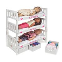 Badger Basket 1-2-3 Convertible Doll Bunk Bed in White Rose