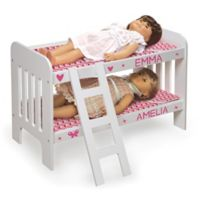Badger Basket Doll Bunk Bed with Ladder in White with Pink Chevron Bedding