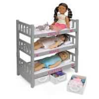 Badger Basket 1-2-3 Convertible Doll Bunk Bed with Baskets in Grey