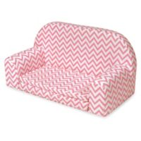 Badger Basket Upholstered Doll Sofa/Foldout Bed in Pink Chevron