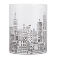 NYC Skyline Wastebasket in White