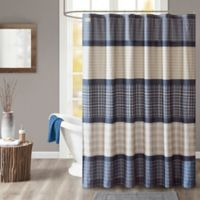 Woolrich Flagship Plaid Shower Curtain In Blue Grey