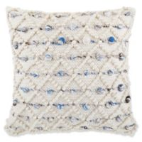 Diamond Dot Square Throw Pillow in Cream/Blue