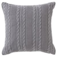 VCNY Home Dublin Cable Knit Oblong Throw Pillow in Silver