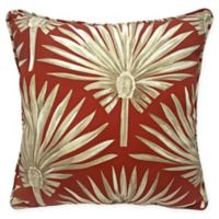 Destination Summer Spicy Palm Indoor/Outdoor Square Throw Pillow in Red