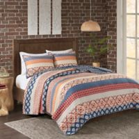 Madison Park Vixen Reversible California King Coverlet Set in Spice/Navy