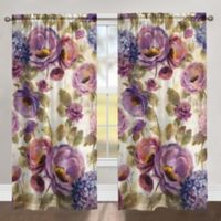 Laural Home Flower Song 84-Inch Rod Pocket Room Darkening Window Curtain Panel in Purple