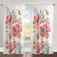 Laural Home Bohemian Poppies 84 Inch Rod Pocket Sheer Window Curtain Panel In Pink