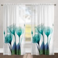 Laural Home Ombre Bloom 84-Inch Rod Pocket Sheer Window Curtain Panel in Blue