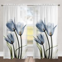 Laural Home Tulip Trio 84-Inch Rod Pocket Sheer Window Curtain Panel in Blue