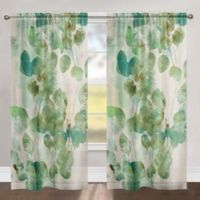 Laural Home Watercolor Eucalyptus 84-Inch Rod Pocket Sheer Window Curtain Panel in Green